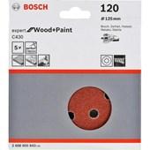 Kit Disco Velcro Expert For Wood Grão 120 Com 5 Disco Bosch