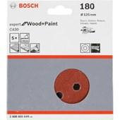 Kit Disco Velcro Expert For Wood Grão 180 Com 5 Disco Bosch